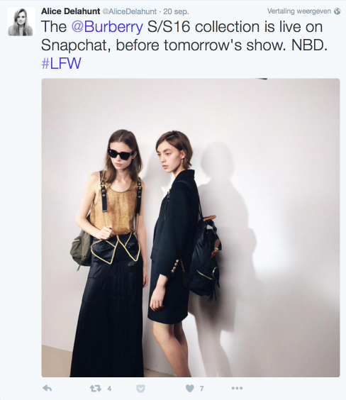 Burberry's social campagne op Snapchat